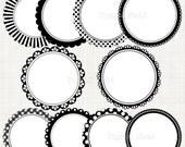 Black&white scalloped circle frames borders clip art set  - printable digital clipart - instant download