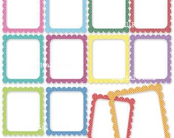 Colorful Polka Dot Digital Frames Clip Art Set - printable clipart borders - instant download