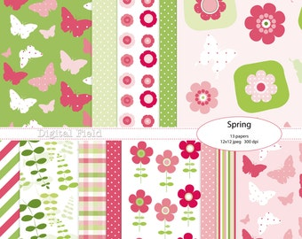 Spring digital scrapbooking paper pack - pink green, flowers and butterflies -13 printable jpeg papers, 12x12, 300 dpi - instant download