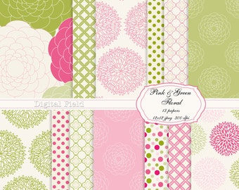 Pink and Green Floral digital scrapbooking paper pack -13 printable jpeg papers, 12x12, 300 dpi - instant download