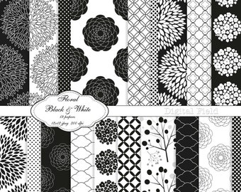 Black and White Floral digital scrapbooking paper pack -19 printable jpeg papers, 12x12, 300 dpi - instant download