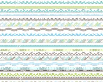 Baby boy digital scalloped borders clip art set - 28 printable digital clipart borders - instant download