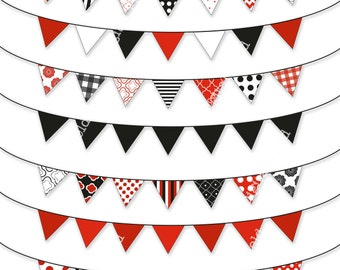 Black, white and red bunting clip art set - printable digital clipart - instant download