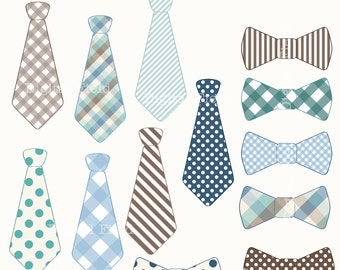 Necktie and Tie Bow clip art set - blue, brown, green printable digital clipart - instant download