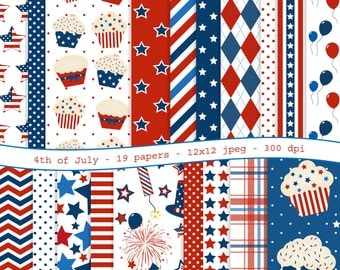 4th of July digital scrapbooking paper pack - 19 printable jpeg papers, 12x12, 300 dpi - instant download