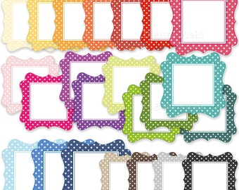 Colorful polka dot labels / frames clip art set  - printable digital clipart - instant download