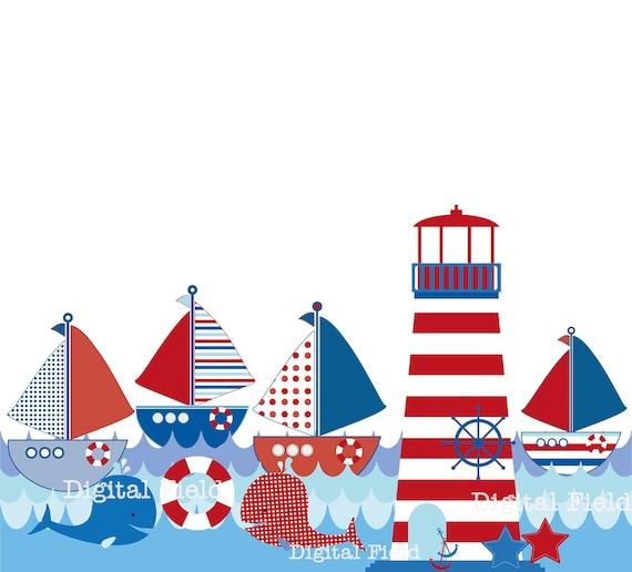 items similar to nautical clip art set