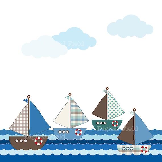 Sailboat Clip Art Set - green, blue, brown nautical printable digital clipart - instant download