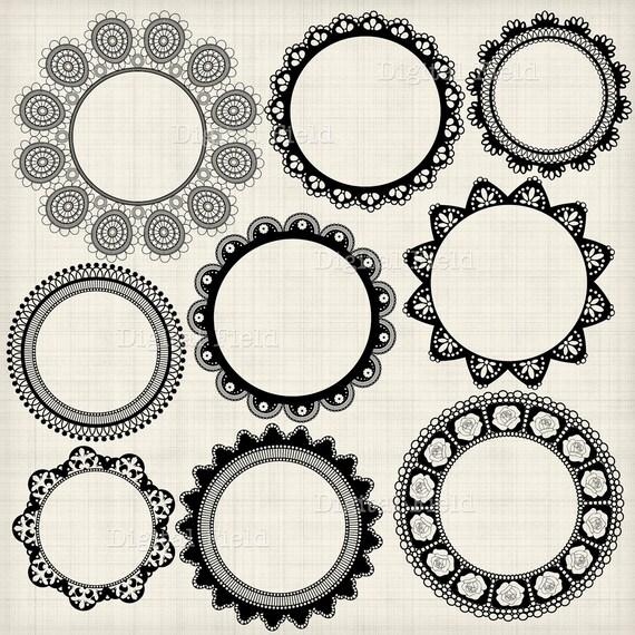Black Lace Doily Frames Clip Art Set - printable digital frame clipart - instant download