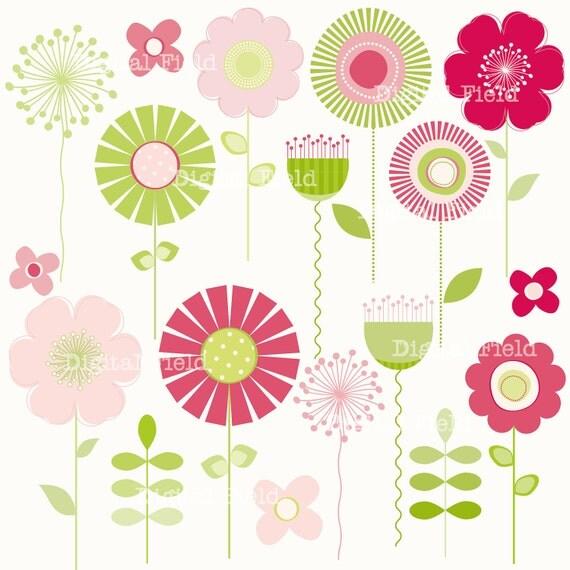 Pink and Green Mod Flower Clip Art Set - printable digital clipart - instatnt download