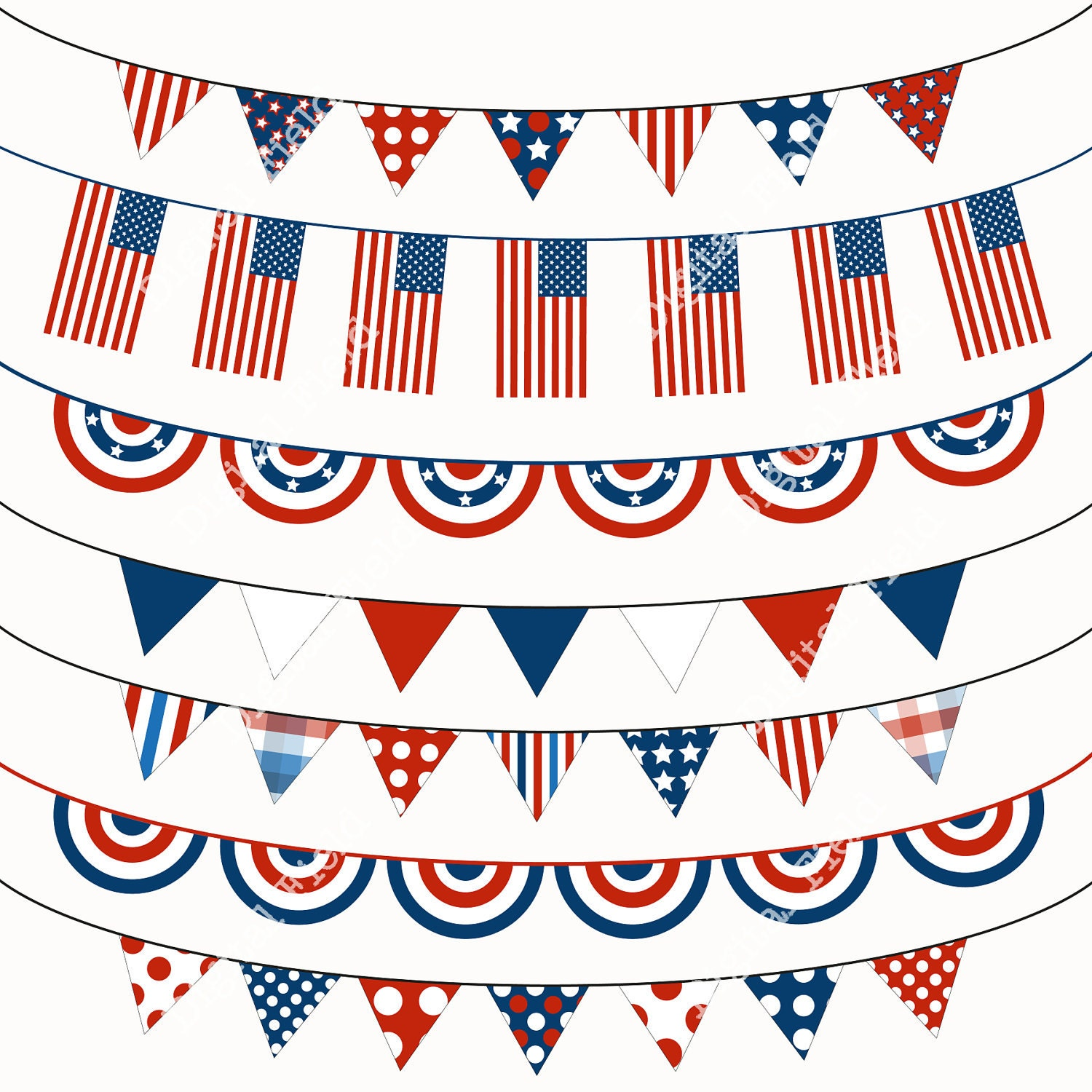 4th of July Bunting Clip Art Set blue white red by digitalfield