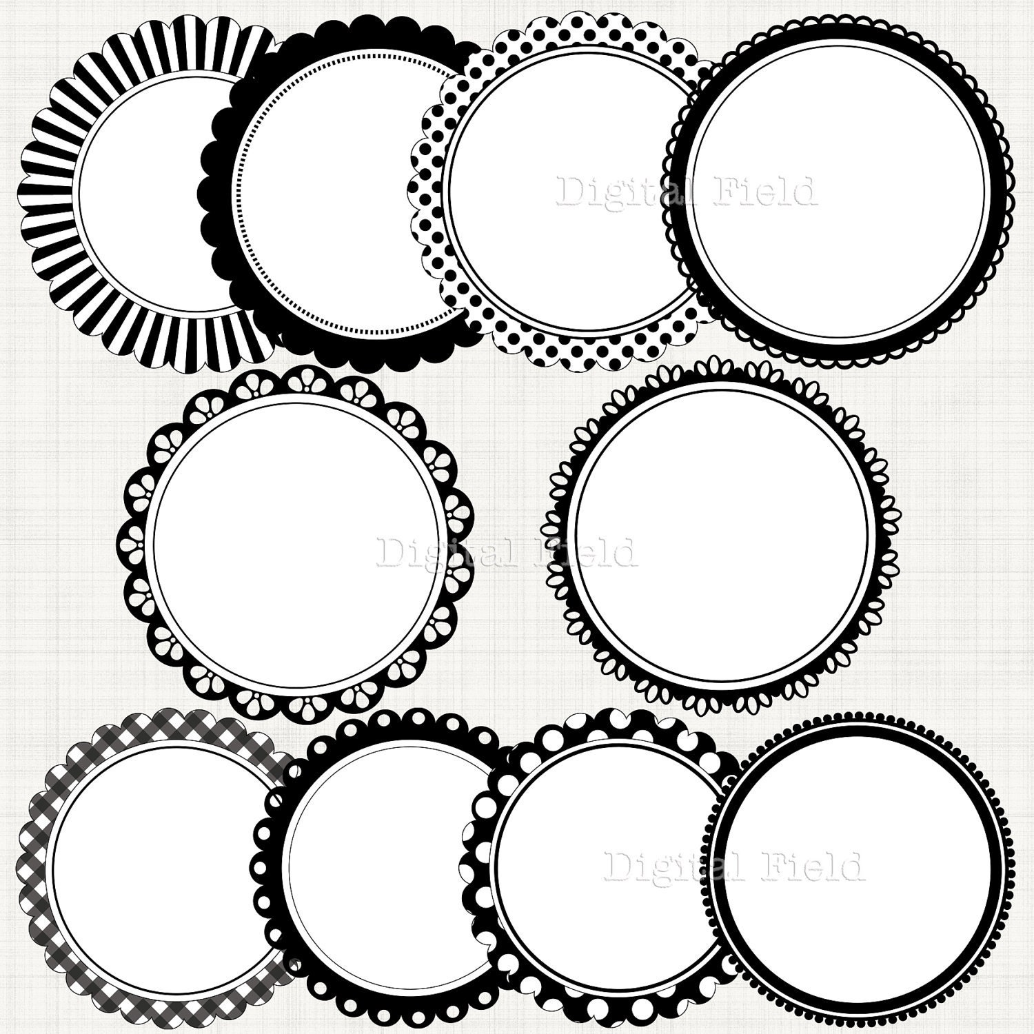 Black&white scalloped circle frames borders clip art set