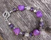 Skull Bracelet Amethyst & Crystal