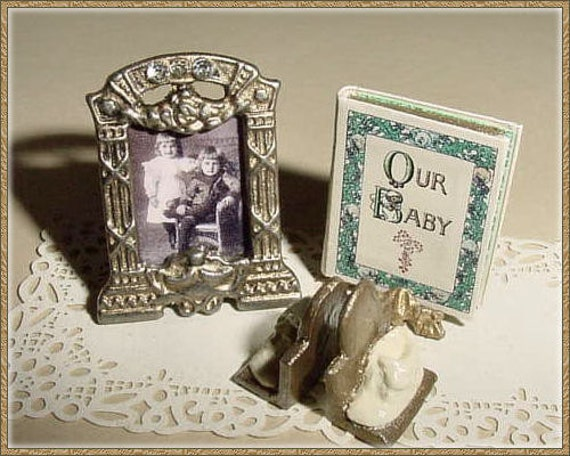 Miniature Baby Record Book, Framed Portrait, Baby Shoe Bookends - One Inch Scale Dollhouse Accessory