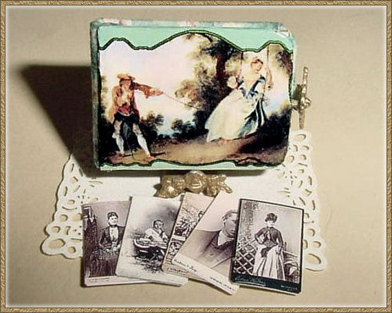 Miniature Photo Album with Cabinet Cards - Victorian Celluloid Style Portrait Photograph - One Inch Scale Dollhouse Accessory