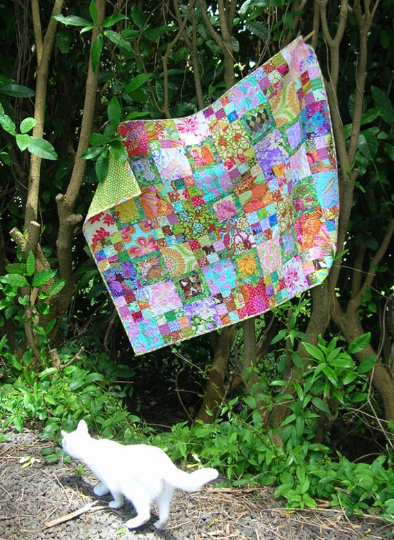 Modern Baby Quilt Lap Quilt OOaK Colorful Scrappy Floral