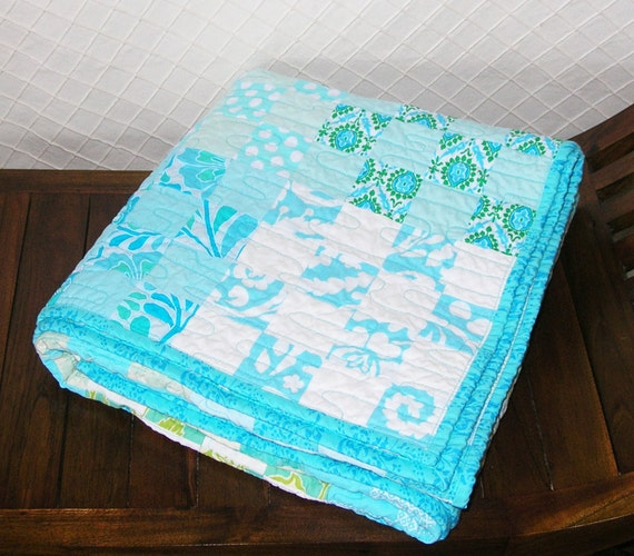 Modern Baby or Lap Quilt Lovely Aqua Blue OOaK