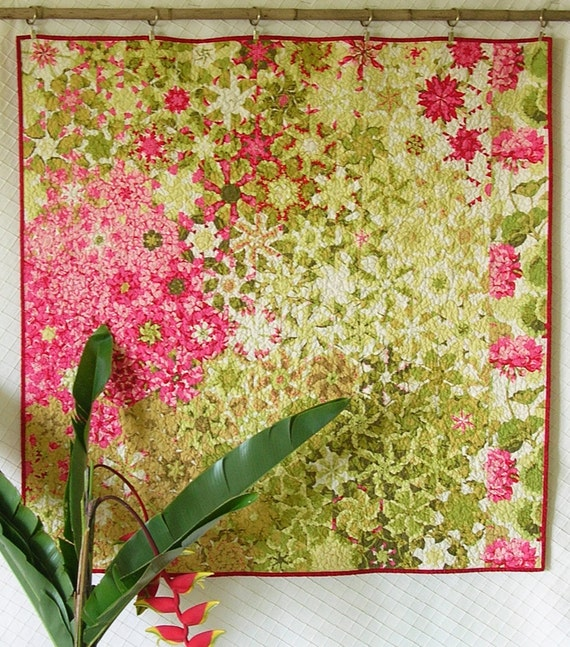 Feng Shui art ~ romantic wallhanging ~ one block wonder ~ quilted