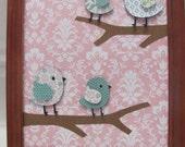 Wall Art, Nursery Art, Girls room art, Kids room art, kids wall art, baby nursery, kids decor, girls decor, Birds, Blue, Pink, Branch