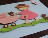 kids room decor, little girl room decor, nursery art, wall art, kids room art, Little Girl, Kitten, Cat , 8x10