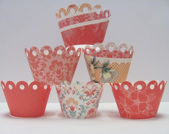 Cupcake wrappers,Set of 12, Cream, Pink, Coral, Green, floral