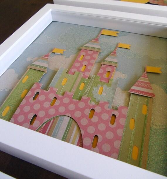 Kids room art, nursery art, kids wall art, baby nursery, baby girl nursery, kids art, Castle Paper Art