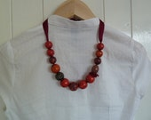 Decoupage Necklace Wooden Bead Necklace Red Necklace