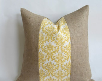 Yellow and White Damask Fabric and Burlap Pillow Cover