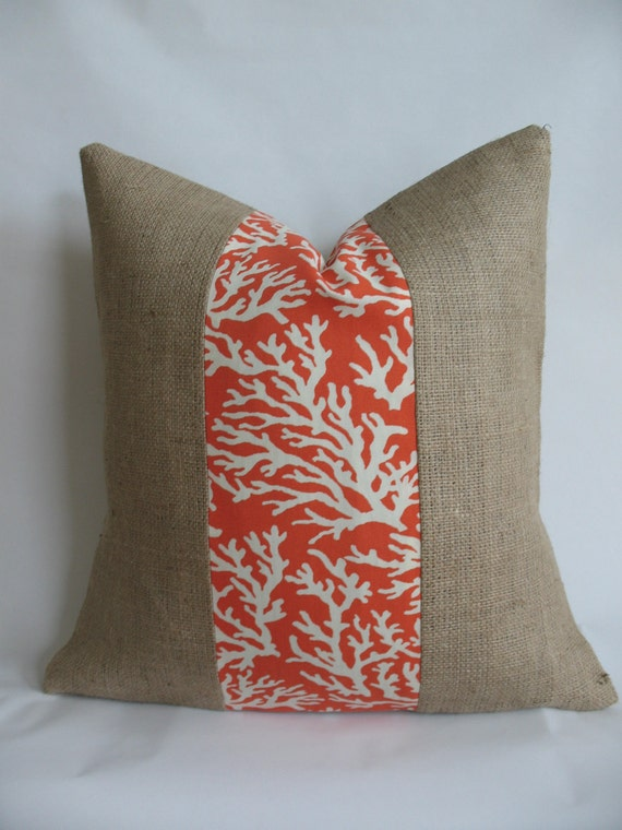 Orange Coral Outdoor Fabric and Burlap Pillow Cover