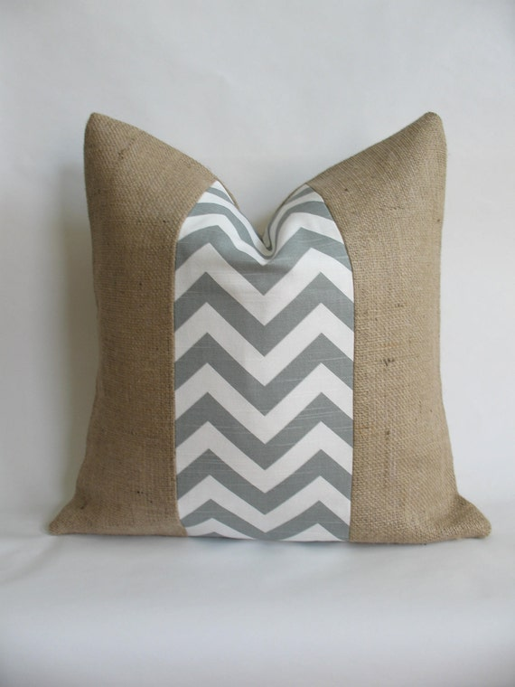 Grey Chevron Indoor or Outdoor Fabric and Burlap Pillow Cover