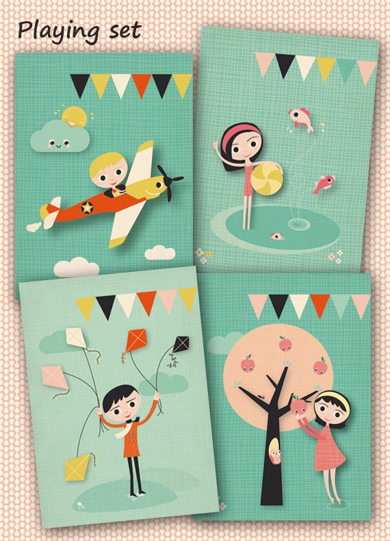 Set of 4 postcards Playing (kids playing with kites, a plane, ball & fishes, apples and appletree)
