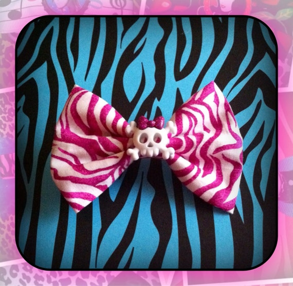 Pink Zebra Skull With Bow Fabric Bow