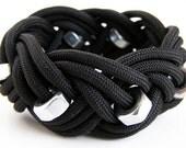 Black Hex Nut Rope Bracelet (Triple Braid)