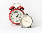 Set of two non working Clocks - german vintage alarm mechanical clocks red grey