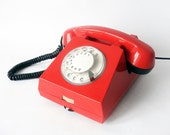 Bright Red and Black Rotary phone - Vintage European Rotary Telephone - Red Retro Rotary Phone - East Europe Made in Romania
