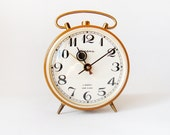 Gorgeous Mustard Russian Jantaz Clock - vintage alarm clock in working order