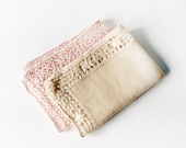 Vintage Pair Table Runners or Napkins - crocheted soft linen napkin set - pink and beige shabby chic decor -