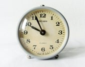 Gorgeous Gray Sevani table clock - soviet alarm clock - russian Sevani alarm clock in working order - home decor