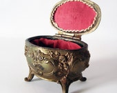 Beautiful antique metal jewelry box - decorative ornamental jewelry case and red lining - valentine romantic gift for her - shabby chic