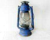 Blue Kerosene vintage Lantern Lamp - railroad vintage lantern - blue rusty old lamp great for industrial decor - electric blue decor