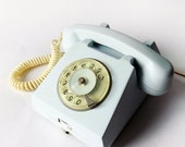 FINAL SUMMER SALE 15% Light Blue Green Rotary phone - 1972 Vintage European Rotary Telephone - Retro Rotary Phone - East Europe Made in Rom - wwvintage