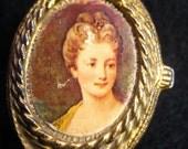 Petit Pill Box with Elegant Female Portrait