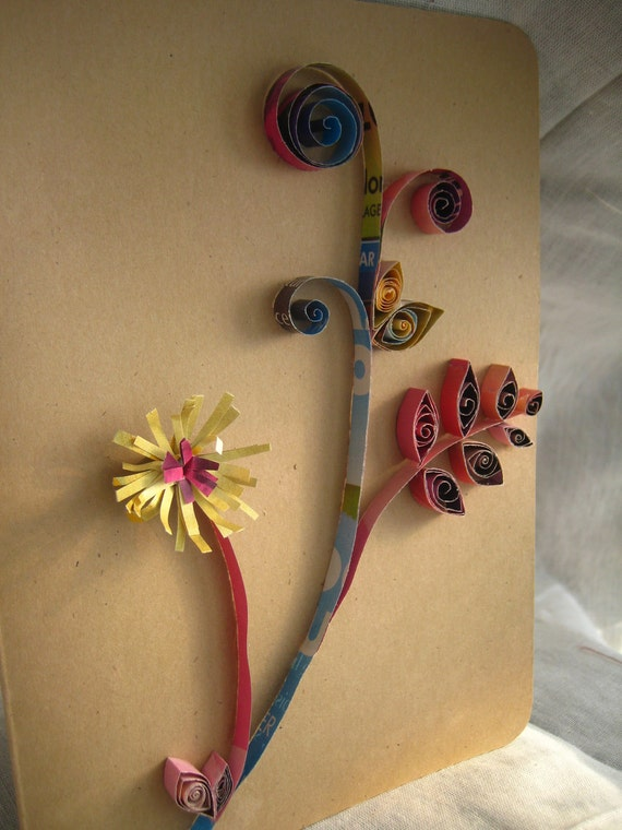 Upcycled, Quilled Blank Greeting Card- Floral Design