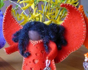 Large Handmade Wool Felt Ethnic Standing Angel, Peg Doll Angel, One of a Kind, Waldorf