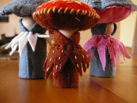 Felt Mushrooms, Waldorf Inspired, Peg Doll Fungi, Nature Table Mushrooms,  Pair of  Handmade Mushrooms