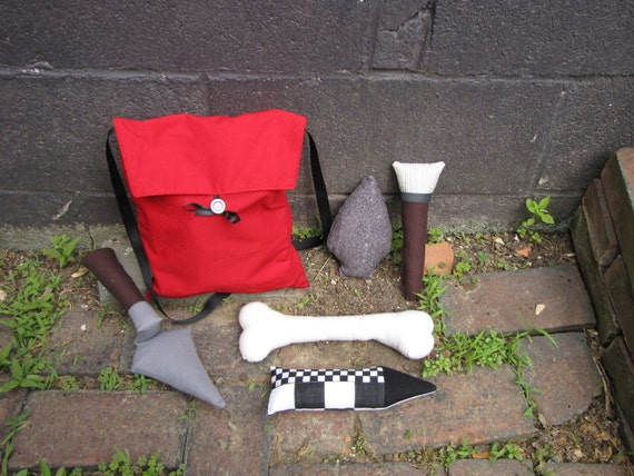 Plush Archaeology Tool Kit with a Red Bag