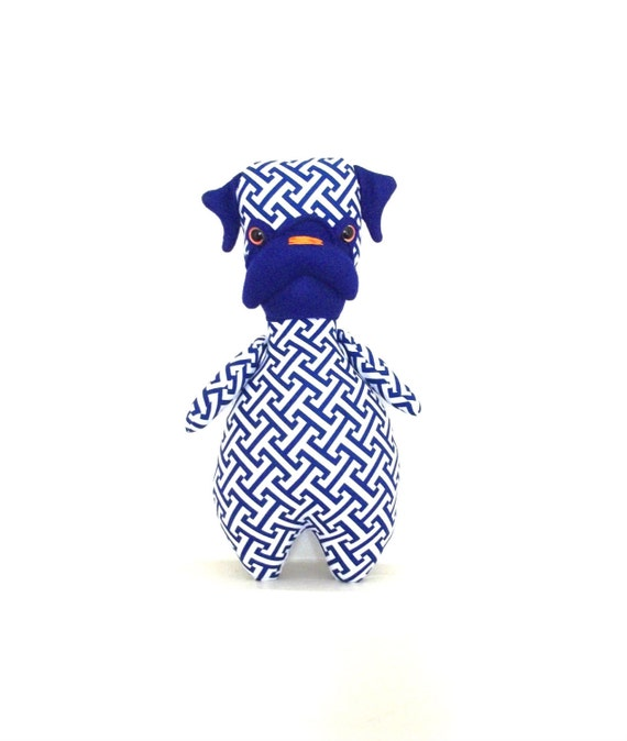 Mon Cher Pug, pug dolls (blue, white and orange)