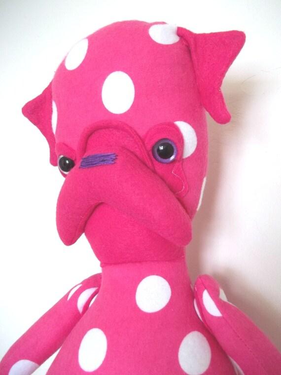 Mon Cher Pug, pug doll (neon pink, pink, white, purple, polka dot)