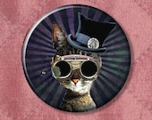 """Clockwork Kitty Steampunk Cat in Purple - Pinback Button Badge -  2.25"""" Two Inches"""