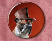 "Steampunk Bulldog The Marquis De Butch Dog - Pinback Button Badge -  2.25"" Two Inches"